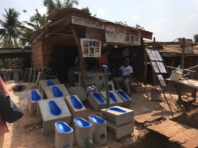 A sanitation enterprise offers affordable ready-to-install toilets in Enugu, Nigeria. Photo credit: FSG