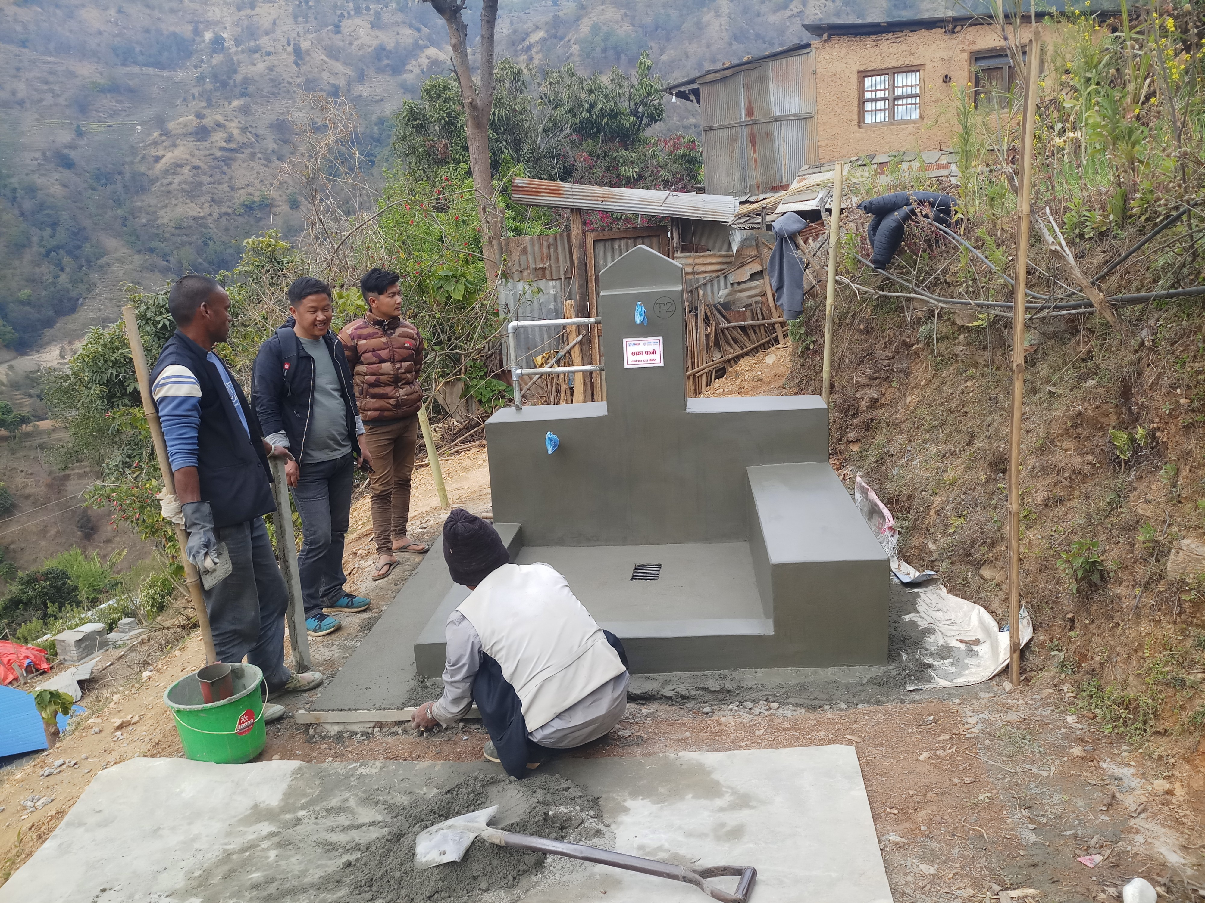 Local communities participate in construction of a USAID–supported public tap in Indrawati Rural Municipaltiy-7, Sindhupalchowk District. Photo credit: USAID/Nepal