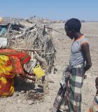 In Afar, pastoralists build latrines using whatever materials they can find across the often hot, arid, barren landscape. Photo credit: USAID Lowland WASH Activity