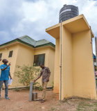The Rotary–USAID partnership provided this clinic in Osedzi with a borehole and a solar-powered pump. Photo credit: Rotary International/Andrew Esiebo