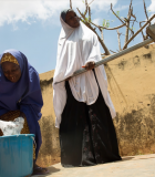 Women wash at a borehole installed with Water and Development Alliance (WADA) support of the WOFAN project. Photo credit: WADA/Nigeria