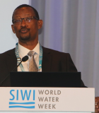 Dr. Canisius Kanangire, Executive Secretary of the African Ministers' Council on Water (AMCOW), speaks at Stockholm World Water Week. Photo credit: AMCOW