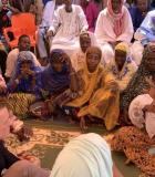 MCC CEO Sean Cairncross speaks to a group of women in the village of Margou, Niger. Photo credit: MCC