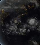 What does climate change look like? Here, one of the strongest tropical storms ever recorded, Typhoon Haiyan, approaches the Philippines in a November 2013 composite image incorporating data captured by the geostationary satellites of the Japan Meteorological Agency (MTSat 2) and EUMETSAT (Meteosat-7), overlaid with NASA's 'Black Marble' imagery. Photo credit: JMA/EUMETSAT