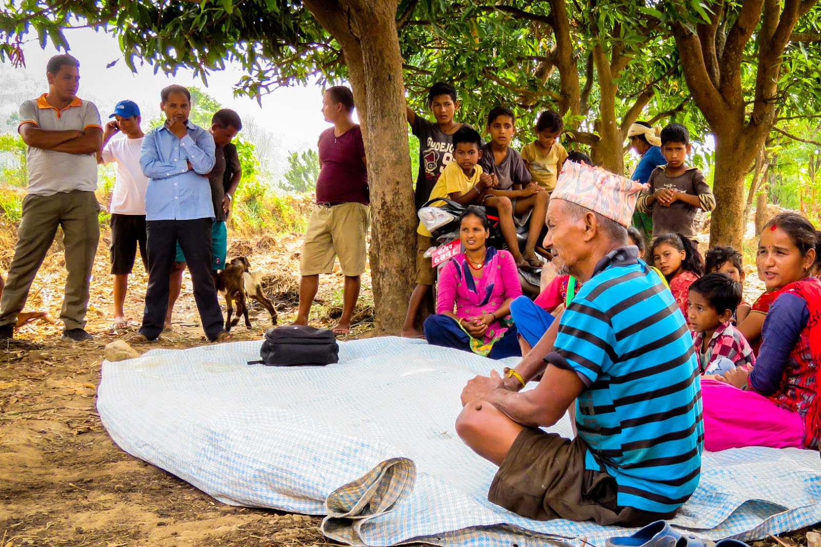 Villagers reflect on their experience and lessons learned during their integrated activity in Hamtad village, in the Rangun Khola watershed. Photo: Liz Kendall/Winrock International